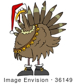 #36149 Clip Art Graphic Of A Festive Christmas Turkey With Jingle Bells And A Santa Hat
