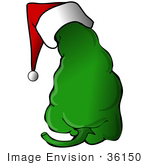 #36150 Clip Art Graphic Of A Green Chili Pepper Wearing A Christmas Santa Hat