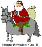 #36151 Clip Art Graphic Of Santa Riding A Horse To Deliver Christmas Gifts