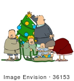 #36153 Clip Art Graphic Of A Caucasian Family Decorating Their Christmas Tree