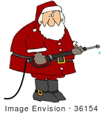 #36154 Clip Art Graphic Of Santa Using A Power Washer Tool