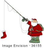 #36155 Clip Art Graphic of Santa Fishing With A Red Christmas Stocking by DJArt
