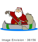 #36156 Clip Art Graphic Of Santa Using A Canoe To Deliver Christmas Gifts