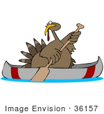 #36157 Clip Art Graphic Of A Turkey Bird Using A Canoe To Escape Hungry People On Thanksgiving