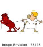#36158 Clip Art Graphic Of A Female Devil And Female Angel Battling During Tug Of War