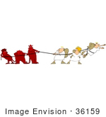 #36159 Clip Art Graphic Of A Group Of Devils Battling With Angels During Tug Of War by DJArt