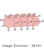 #36161 Clip Art Graphic Of A Chorus Line Of Chubby Pink Pigs