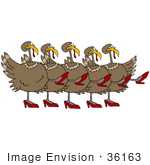 #36163 Clip Art Graphic Of A Chorus Line Of Dancing Turkey Birds Wearing High Heels