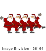 #36164 Clip Art Graphic of a Chorus Line of Dancing Santas by DJArt
