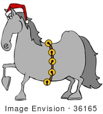 #36165 Clip Art Graphic Of A Festive Christmas Horse Wearing A Santa Hat And Sash Of Bells