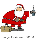 #36166 Clip Art Graphic Of Santa With A Screwdriver Flashlight And Tool Box Doing Home Repairs