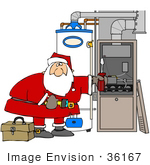 #36167 Clip Art Graphic Of Santa Repairing A Furnace With A Screwdriver