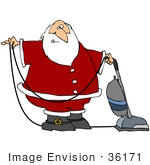#36171 Clip Art Graphic Of Santa Claus Vacuuming A Floor