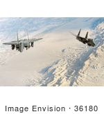 #36180 Stock Photo Of Two United States Air Force F-15e Strike Eagle Aircraft Conducting A Flight Over Afghanistan