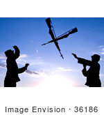 #36186 Stock Photo Of Two Silhouetted Soldiers Practicing An Over The Head Rifle Toss At Ellsworth Air Force Base