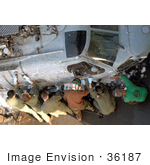 #36187 Stock Photo Of Helicopter Anti-Submarine Squadron Members Washing An Sh-60f Seahawk Helicopter