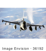 #36192 Stock Photo Of A F-16 Fighting Falcon Flying Over The Pacific Alaskan Range Complex