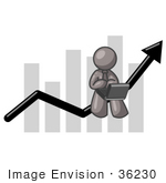 #36230 Clip Art Graphic Of A Grey Guy Character Working On A Laptop On A Bar Graph