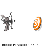 #36232 Clip Art Graphic Of A Grey Guy Character Shooting Arrows