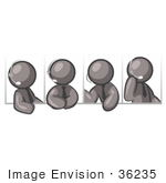 #36235 Clip Art Graphic Of Grey Guy Characters Speaking On Headsets