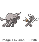 #36236 Clip Art Graphic Of A Grey Guy Character Fighting A Bull With A Whip