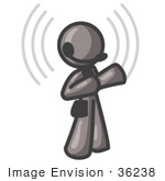 #36238 Clip Art Graphic Of A Grey Guy Character With Signals Using A Headset
