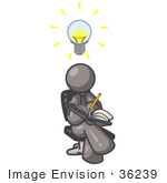 #36239 Clip Art Graphic Of A Grey Guy Character Writing Ideas Down In A Journal