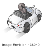 #36240 Clip Art Graphic Of A Grey Guy Character Talking On A Phone And Driving