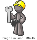 #36245 Clip Art Graphic Of A Grey Guy Character Wearing A Tool Belt And Hardhat And Holding A Spanner