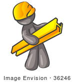 #36246 Clip Art Graphic Of A Grey Guy Character Wearing A Hardhat And Carrying A Beam