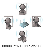 #36249 Clip Art Graphic Of Grey Guy Characters Holding A Meeting On Bluetooth Headsets