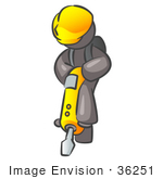 #36251 Clip Art Graphic Of A Grey Guy Character Operating A Jack Hammer
