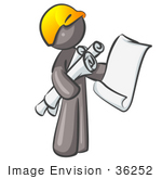 #36252 Clip Art Graphic Of A Grey Guy Character Holding Blueprints
