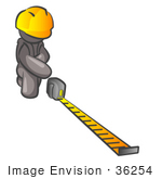#36254 Clip Art Graphic Of A Grey Guy Character Measuring