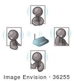 #36255 Clip Art Graphic Of Grey Guy Characters Holding A Meeting On Headsets