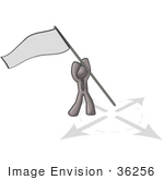 #36256 Clip Art Graphic Of A Grey Guy Character Sticking A Flag In The Ground