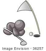 #36257 Clip Art Graphic Of A Grey Guy Character Trying To Blow A Golf Ball Into A Hole