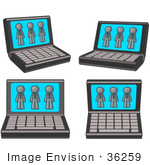 #36259 Clip Art Graphic Of A Grey Guy Character On Four Laptop Computer Screens