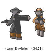 #36261 Clip Art Graphic Of Grey Guy Characters Dueling With Guns