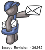 #36262 Clip Art Graphic Of A Grey Guy Character Delivering Mail