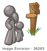 #36263 Clip Art Graphic Of A Grey Guy Character And Child At A Crossroads