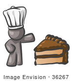 #36267 Clip Art Graphic Of A Grey Guy Character Chef With Chocolate Cake