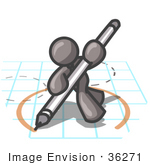 #36271 Clip Art Graphic Of A Grey Guy Character Drawing A Circle On Graph Paper