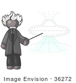 #36272 Clip Art Graphic Of A Grey Guy Character As Einstein Pointing To A Ufo