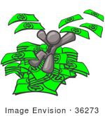 #36273 Clip Art Graphic Of A Grey Guy Character Jumping In A Pile Of Cash