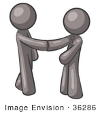 #36286 Clip Art Graphic Of Grey Guy Characters Shaking Hands