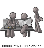 #36287 Clip Art Graphic Of Grey Guy Characters Waiting At A Bus Stop