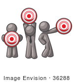 #36288 Clip Art Graphic Of Grey Guy Characters Holding Targets