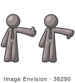 #36290 Clip Art Graphic Of Grey Guy Characters Giving Thumbs Up And Thumbs Down