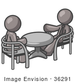 #36291 Clip Art Graphic Of Grey Guy Characters Discussing At A Table